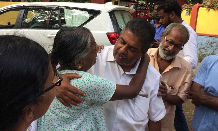 Kerala Floods Saji Cherian Chengannur MLA visits flood hit areas reassures victims