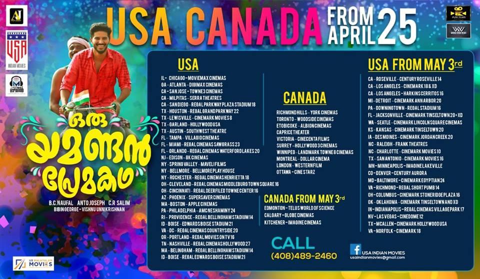 Oru Yamandan Premakatha USA Canada Theatre List